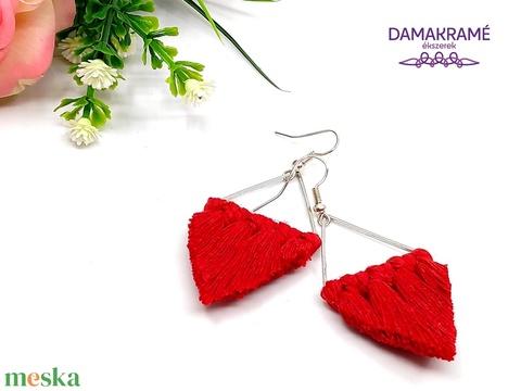 Lustre makramé fülbevaló - piros (DombiAnita) - Meska.hu
