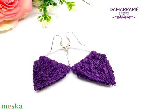Lustre makramé fülbevaló - lila (DombiAnita) - Meska.hu