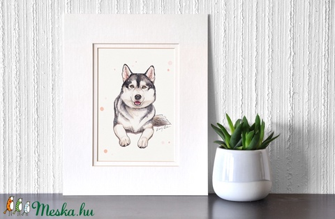 Husky - ecsetfilc festmény (nyomat) (Dorakoreny) - Meska.hu