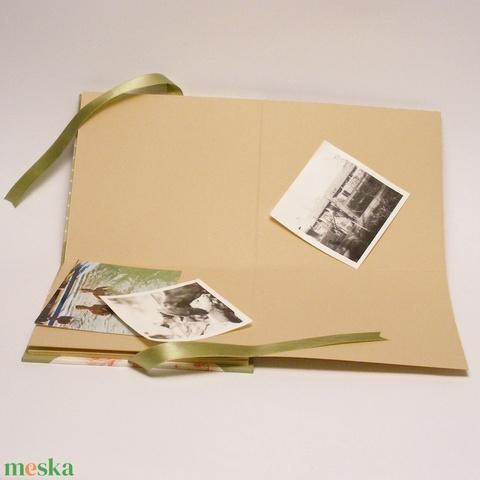 Romantikus fotóalbum, rózsás, pöttyös fényképalbum esküvőre, papír és vászon borító, csipkével - Meska.hu