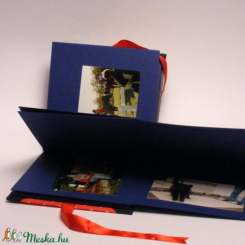 Piros és kék, pöttyös fotóalbum, scrapbook album, nőies album csipkével, papír és vászon borító, szalag - Meska.hu