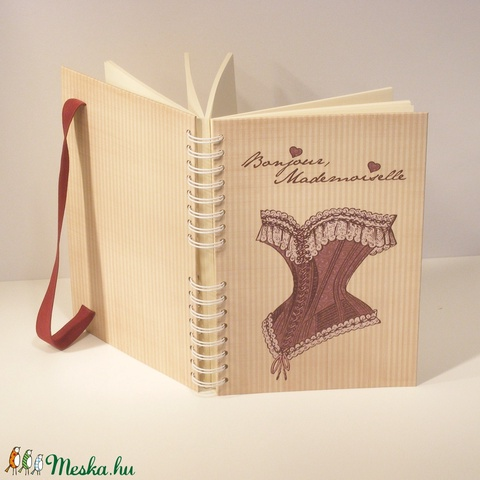 Spirálfüzet kemény borítóval, spirálozott jegyzetfüzet, notesz, gumival, romantikus és nőies, vintage - Meska.hu