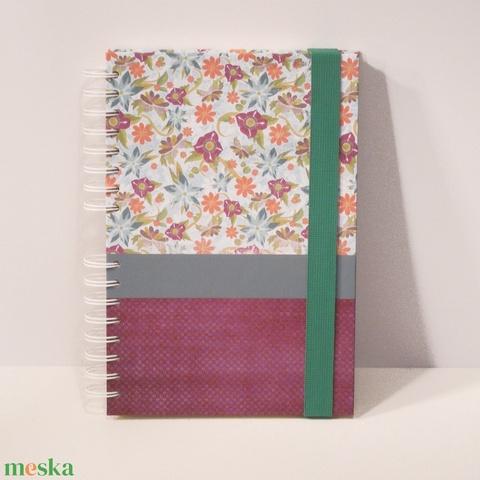 Spirálfüzet kemény borítóval, spirálozott jegyzetfüzet, notesz, gumival, romantikus virágos és pöttyös - Meska.hu