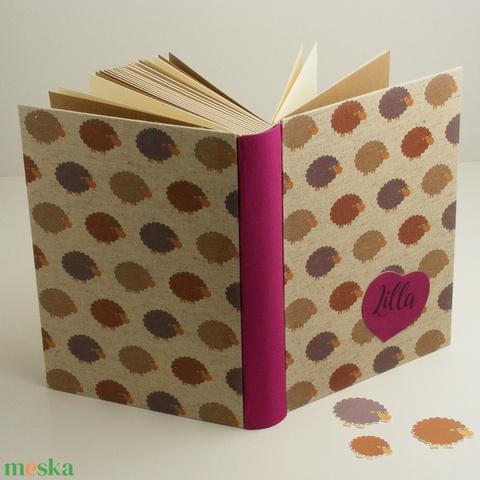 Bárányos, nagy babakönyv, babanapló és babaalbum egyben, emlékkönyv kislányoknak, baris vászon, szívalakú betét névvel - Meska.hu