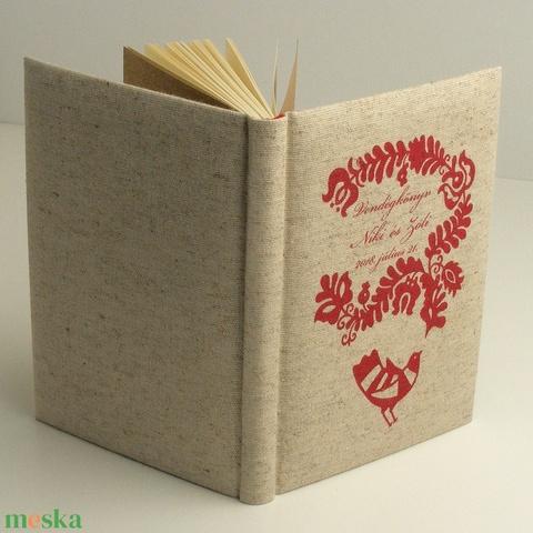 Esküvői vendégkönyv, emlékkönyv esküvőre. Magyaros, népmesés könyv, párnázott, natúr vászon borító - Meska.hu