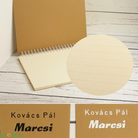 Barna spirálfüzet, fehér spirál, A4 méretű spirálozott füzet. Személyre szabható, névvel, keresztnévvel vagy monogrammal - Meska.hu