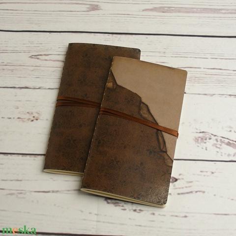 2 db-os füzetcsomag, régimódi, vintage füzetek barna, virágos borítóval, keskeny, hosszúkás forma, szaténszalag átkötő - Meska.hu