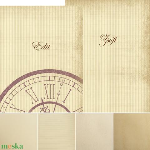 2 db-os füzetcsomag, régimódi, vintage füzetek csíkos és mintás borítóval, keskeny, hosszúkás forma, szaténszalag átkötő - Meska.hu
