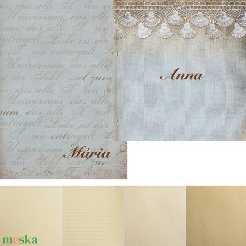 2 db-os füzetcsomag, régimódi, vintage füzetek romantikus borítóval, keskeny, hosszúkás forma, szaténszalag átkötő - Meska.hu