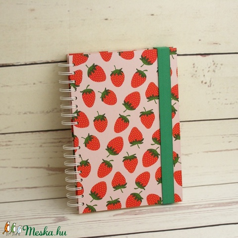 Epres füzet, spirálfüzet kemény borítóval, spirálozott jegyzetfüzet, gyümölcsmintás notesz zöld gumival, nyári színek - Meska.hu