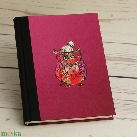 Baglyos napló üres lapokkal, A5 notesz vászon gerinccel, kézzel fűzött emlékkönyv, jegyzetelő bagollyal - Meska.hu