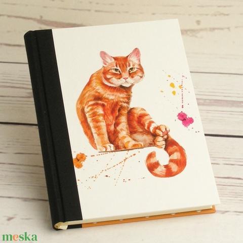 Napló macskásoknak, üres lapos A5 notesz vászon gerinccel, kézzel fűzött macskás emlékkönyv, jegyzetelő, hátul pöttyös - Meska.hu