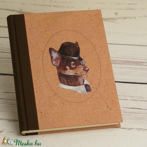 A5 napló kutyabarátoknak, notesz vászon gerinccel, kézzel fűzött kutyás emlékkönyv, jegyzetelő gentleman kutyával - Meska.hu