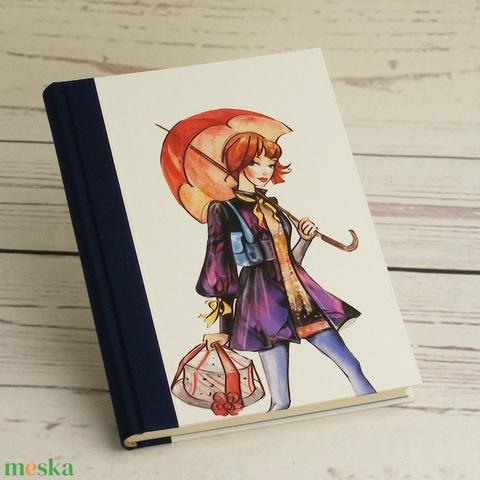 Csajos napló, simalapos A5 notesz vászon gerinccel, kézzel fűzött csajos, shoppingolós jegyzetelő, vásárlás esőben - Meska.hu