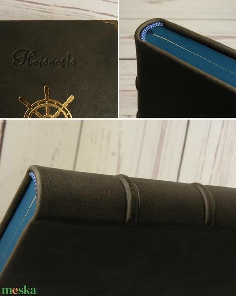 Hajónapló, bőrnapló hajósoknak, emlékkönyv, vendégkönyv, szürke valódi bőr napló, arany színű hajókerékkel, kézzel fűzve - Meska.hu