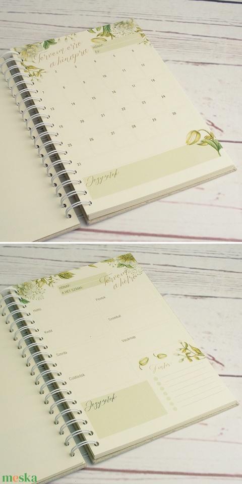 Határidőnapló, spirálos napló, havi és heti tervező színes oldalakkal, tervező egy évre (12x havi, 54x heti), öröknaptár - Meska.hu