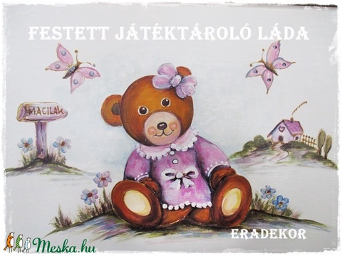 Mackó lányos meseláda keresztelőre - Meska.hu