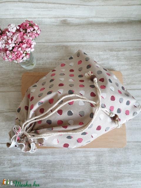 Kenyér és pékárú frissentartó zsák, PUL belső anyaggal. Szamóca mintás -Nagy méretű (erikabanasz) - Meska.hu