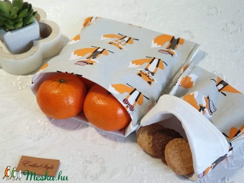 Uzsonnás tasak 2db-os, Snack bag, London rókás (erikabanasz) - Meska.hu