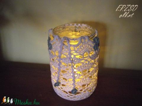 Nefelejcses csipke befőttesüvegre (Erzsoalkot) - Meska.hu