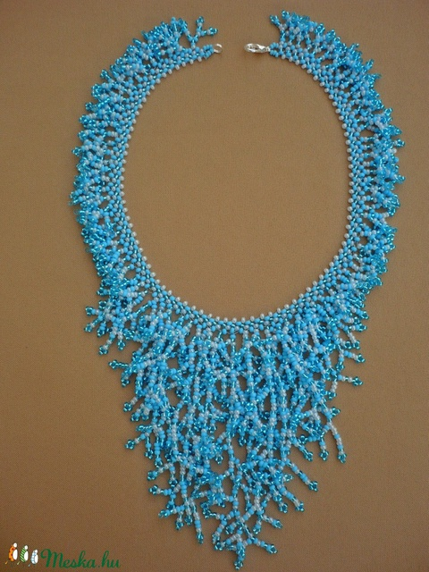 Kék zuhatag ágacskás gyöngy nyaklánc, gyöngygallér, gyöngynyaklánc, gyöngynyakék - ékszer - nyaklánc - gyöngyös nyaklác - Meska.hu