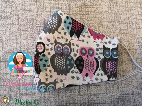 Textil maszk baglyos lilás (EveDesign2) - Meska.hu