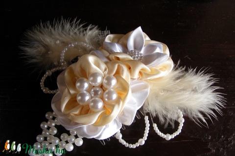 Krém-fehér gyöngyös hajdísz,fejdísz esküvőre (eviara) - Meska.hu