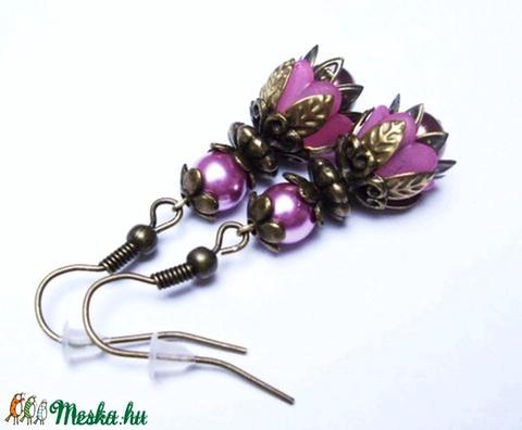 Rózsaszín tulipánvirág fülbevaló (Evii) - Meska.hu