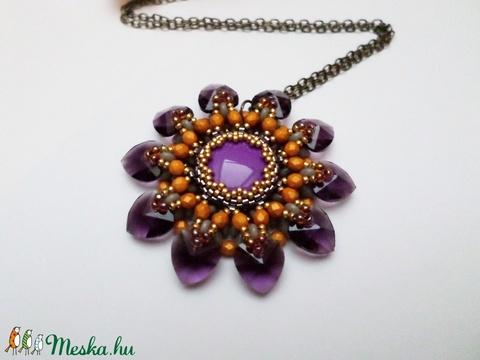 Lorell lila-narancs medál - ékszer - nyaklánc - medálos nyaklánc - Meska.hu
