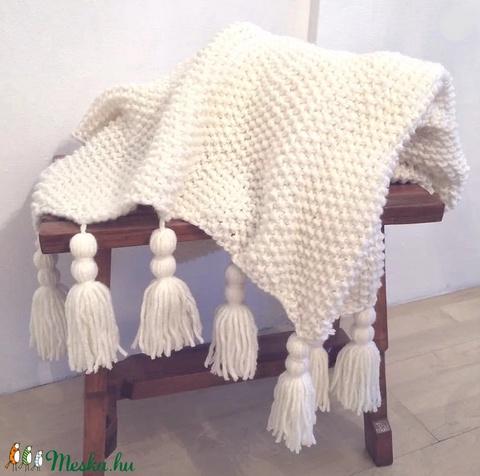 Gyapjú takaró, kötött bohém stílusú puha takaró bojtokkal (90 x 120cm (+ kb 20 cm bojtok) (EVYHomeDecor) - Meska.hu