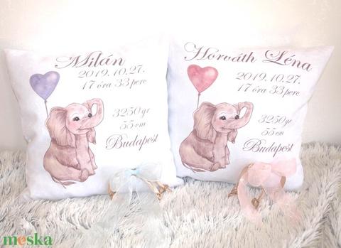 Babaváró elefántos egyedi díszpárna névvel és személyes adatokkal ajándék párna, születési babaváró párna,huzat+belső - játék & gyerek - babalátogató ajándékcsomag - Meska.hu