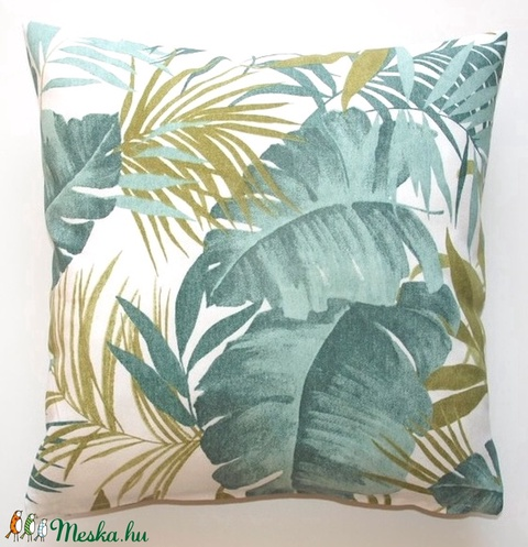 Pálmás banánleveles díszpárna, pálmaleveles trópusi díszpárna, dzsungeles díszpárna, huzat + belső párna (EVYHomeDecor) - Meska.hu