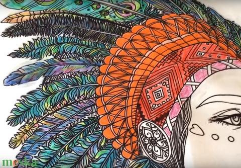 Indiános színezhető dekorpárna, Tollas fejdíszes lányos gyerekszoba dekor, indiános díszpárna, huzat+belső párna (EVYHomeDecor) - Meska.hu