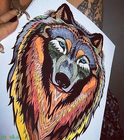 Farkasos színezhető párna, Farkas párna, állatos díszpárna, farkasos, kutyás (huzat+belső párna) (EVYHomeDecor) - Meska.hu