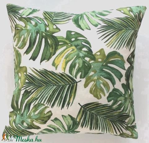 Pálmás díszpárna, pálmaleveles trópusi díszpárna, dzsungeles díszpárna, huzat + belső párna (EVYHomeDecor) - Meska.hu