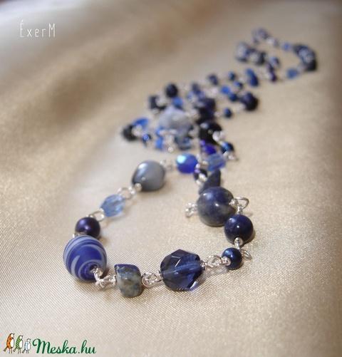 Kék mix hosszú nyaklánc ásványokkal (ExerM) - Meska.hu