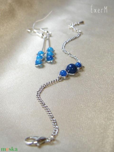 Kék trio hosszú fülbevaló (ExerM) - Meska.hu