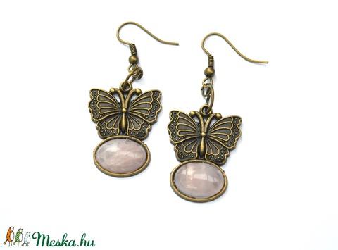 Szeretet rózsa-pillangó fülbevaló - Meska.hu