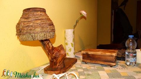 Rusztikus asztali lámpa (fafurdancs) - Meska.hu