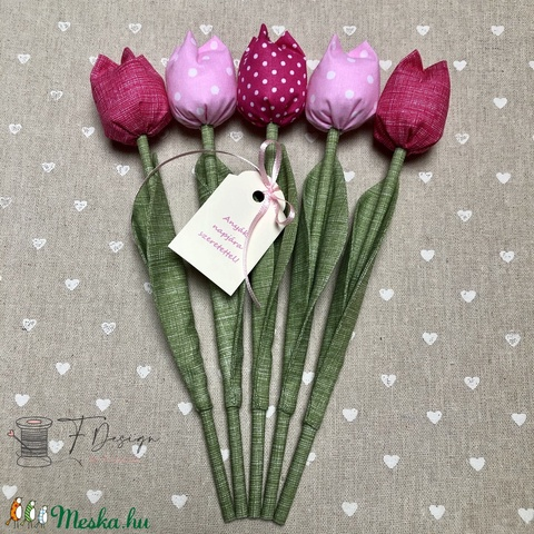 Anyák napi textil tulipánok / szett: 5 db/ ingyen ajándékkísérővel (FDesignbyFruzsina) - Meska.hu
