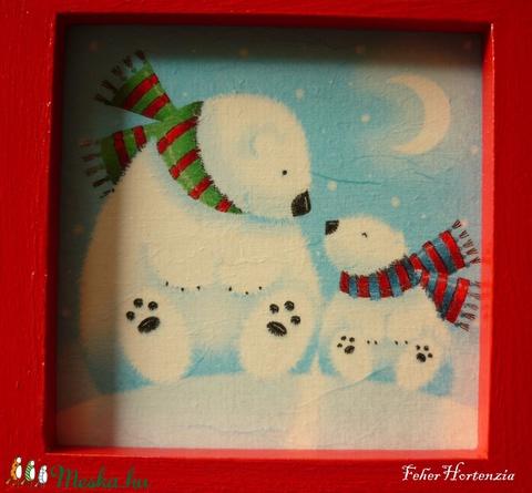 Jegesmedvék falikép piros keretben (16x16 cm)  - otthon & lakás - dekoráció - kép & falikép - Meska.hu