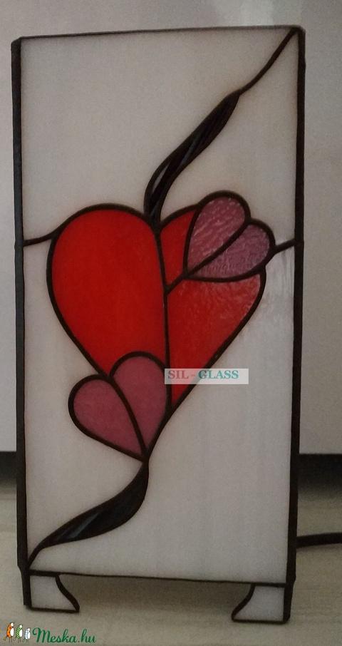 Mesésen szép Tiffany hasáb lámpa, melyet a szerlelem, szeretet ihletett (SilGlass) - Meska.hu