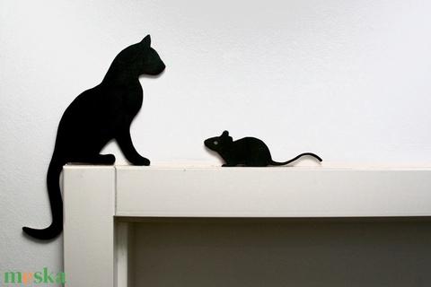 Macska egérrel dekoráció (pl. ajtóra, polcra, képkeretre) - Meska.hu
