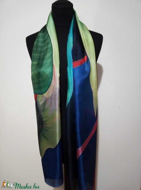 Kék-zöld árnyalatú, trópusi mintás  nagy méretű-180x45cm - selyemsál - Meska.hu
