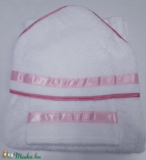 Kapucnis fürdőlepedő+kesztyű, fehér flottir - rózsaszín szegéllyel - 80 x 80 cm  - Meska.hu