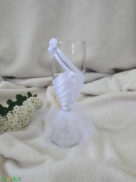 Esküvői pohár szett, rózsás (gervera) - Meska.hu