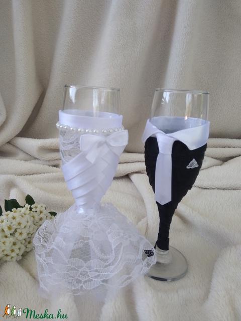 Esküvői pohár szett, csipkés, gyöngyös (gervera) - Meska.hu