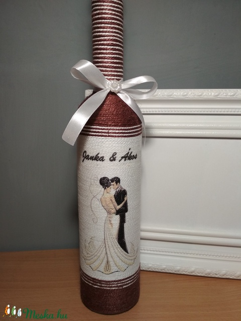 Pálinkás üveg esküvőre, egyedi felirattal (gervera) - Meska.hu
