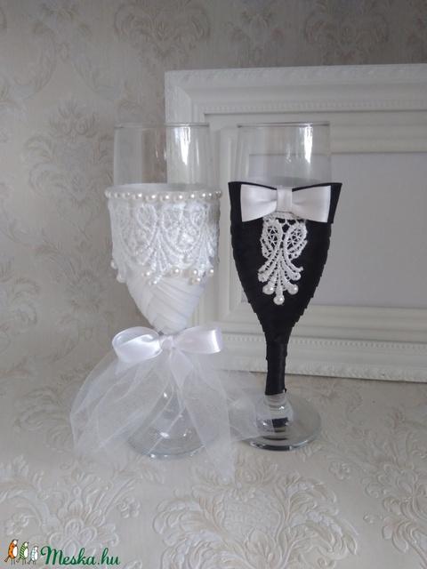 Csipke szerelem, esküvői pohár (gervera) - Meska.hu