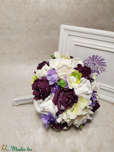 Menyasszonyi csokor, lila (gervera) - Meska.hu